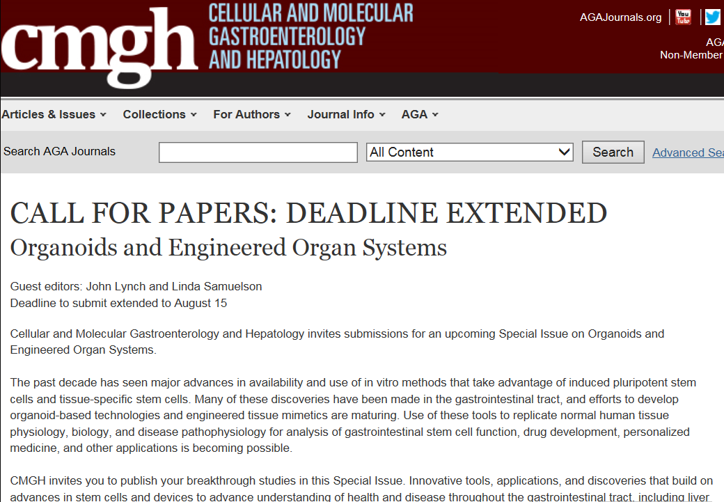 Organoids and Engineered Organ Systems - CALL FOR PAPERS: DEADLINE EXTENDED